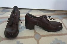 MOMA 36.5 6.5 Italy Lace Up Heeled Oxfords Soft Leather Burgundy Brown Booties