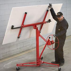 Plasterboard Lifter Hoisting 11ft Heavy Wheeled Sheet Panel Drywall Hoist Caster