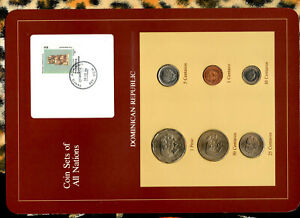 Coin Sets of All Nations Dominican w/card UNC 1 Peso, 50,25,10,5,1 Centavos 1984