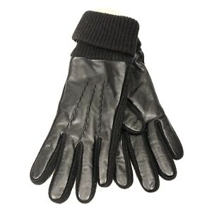 POLO RALPH LAUREN Mens Leather Knit Wool Cuff Gloves Black S/M (MSRP $68)