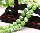 10pcs 12mm Round Lampwork Glass Charms Loose Spacer Stripes Beads Light Green