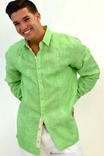 Mens Bohio 100% Linen Lt.Blue Gingham Guayabera (2) Pocket Shirt (S~XL) -MLG101