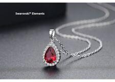 Collier chaîne pendentif goutte d'eau Swarovski® Element top qualité rouge rubis