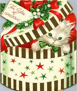 Hat Box Gift Present Kitty Cat Kitten Mistletoe VTG Christmas Greeting Card