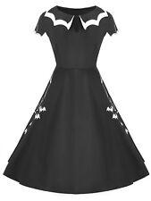 Women Halloween Bat Net Vintage Plus Size Dress Costume Cap Sleeve Black Dress