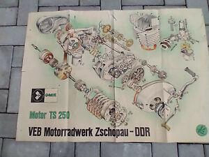 DDR Plakat MZ Motorrad Zschopau, Maschinenplan