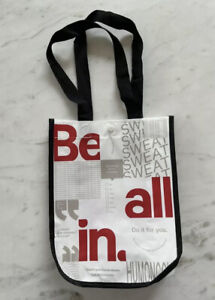 """Lululemon Be All In 12""""x9"""" Tote Bag Lunch Eco Friendly White Yoga Gym Shopping"""