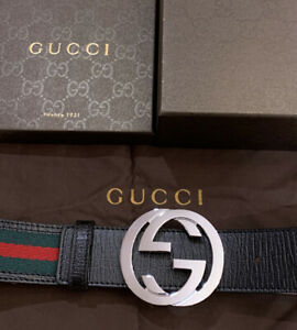 New Gucci Belt Black, Red,Green Authentic GG buckle size-90 cm fits 30-32 waist