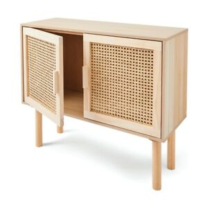 New Rattan Sideboard Buffet Handmade Natural Woven Cane Solid Timber Wood F2
