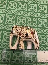 Wood Hand Painted Floral Design Wedding Indian Elephant Statue FREE SHIPPING