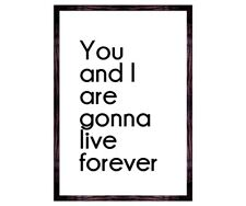 You and i are gonna live forever typography oasis lyric Quote -music- art print