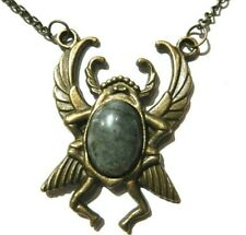 Winged Scarab Beetle & Labradorite Pendant Necklace bronze Egypt Egyptian Ra H6