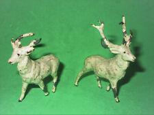 "Antique Putz Cast Metal Lead Reindeer 2"" Stamped Germany"