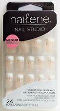 Nailene Nail Studio Decorated French Manicure False Nails Medium