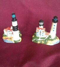 Tall Light House Collectibles, Miniatures, 2 PIECE SET, Porcelain Embeds