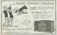 Y2071 Radio Crosley Italiana - La Perla - Pubblicità del 1933 - Old advertising