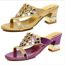 Chunky Heel Crystal Women's Summer Slipper Shoes Casual Outdoor Rhinestone Shoes