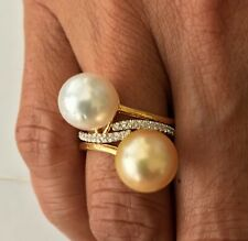 Unbelivable Deal Set of 10mm Golden & White South Sea Pearl 18k Gold Plated Ring