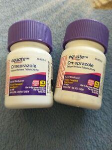 Lot of 2 Equate Omeprazole 14Tablets Per Bottle, Acid Reducer Exp 7/2021