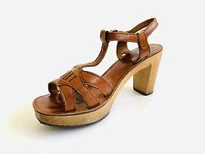 Vintage 70's Platform Wood Sandals High Heel Bare Traps Leather Shoes - Size 8