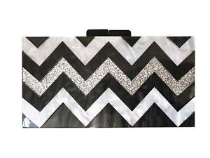 Black, White & Silver Zig Zag Design Acrylic Clutch
