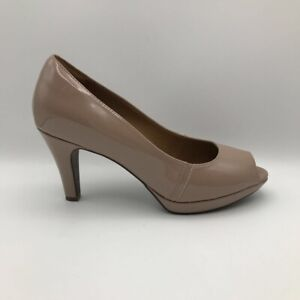 Clarks Collection Womens Narine Rowe Pumps Nude Beige Platform Heels Leather 9 M