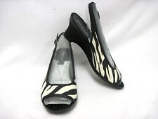 Aerosoles Sling Back Zebra Black White Fabric Upper Dozen Roses 7 1/2 M