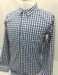 Nautica Blue White Gingham Plaid Cool Cotton Blend L/S Shirt Youth Boys XL 18/20