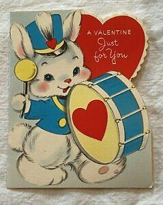 Sweet Used Vintage American Greeting Valentine Greeting Card Bunny Drummer