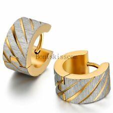 Men's Women's Charm Knurling Shiny Stainless Steel Wide Hoop Huggie Earrings
