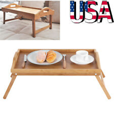 Wooden Lap Tray Breakfast in Bed Serving with Folding Legs Table Mate Wipe Tray