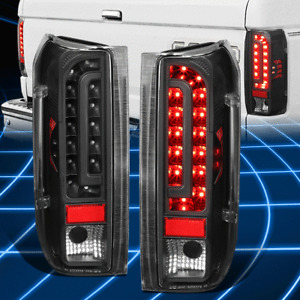 For 90-97 Ford F150-350 Bronco Full LED Black Clear Tail Light Lamps Replacement
