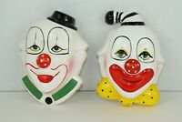 2 Vintage Ceramic Circus Clown Happy Faces w/ Red Noses - Wall Decor