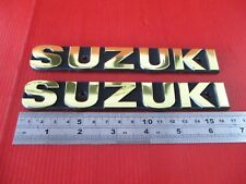 "SUZUKI GT550 GT380 GT250 GT185 A100 GP100 TANK EMBLEM ""GOLD"" 1 PAIR"