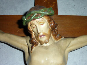 Abholung PLZ 92245: alter, großer Kruzifix. Jesus am Kreuz. Holzkreuz 55x100 cm
