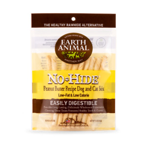 """Earth Animal NO HIDE PEANUT BUTTER DOG CAT STIX CHEWS 4""""  10 Pk  MADE IN USA"""