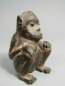 Fine China Chinese Carved Stone Figure Seated Ape Monkey Glass Eyes ca. 19th c