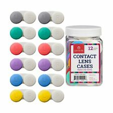 Contact Lens Cases, 12 Pack – Assorted Separate Colors for Left/Right Eyes – ...