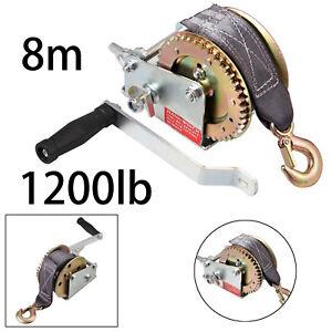 8M Heavy Duty 1200lb Manual Hand Winch Belt Strap Hook Puller Boat Trailer NEW
