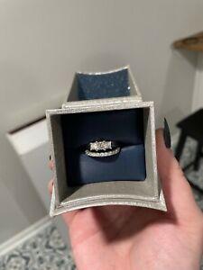 Zales wedding ring set 18k white gold Celebration three stone ring.