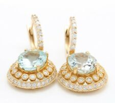 8.29 Carat Natural Aquamarine & Diamonds in 14K Solid Yellow Gold Women Earrings