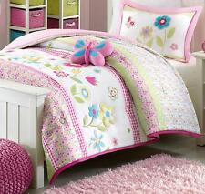 GIRLS SPRING BUTTERFLY Twin or Full Queen COMFORTER SET : PINK GINGHAM FLOWERS