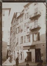 France, Nice, Immeubles de la rue Barillerie, ca.1900, Vintage citrate print Vin