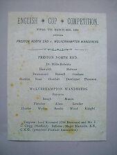 1889 FA Cup final programme Preston North End v Wolverhampton wanderers mint con