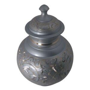 Adulti Urna Ceneri, Grigio & Oro Inciso Appuntito Top Grande Urna Cremazione