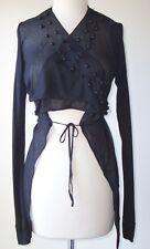 RICK OWENS REVILLON Black Beaded Wrap Tie Sweater Jacket 6 8