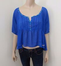 Hollister Womens Floral Print Sheer Crop Peasant Top Size Medium Blouse Blue