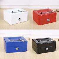 Mini Key Lock Petty Cash / Piggy Bank Money Box Tin Nice Lockable Safe V5Z1