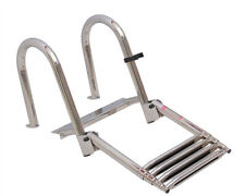 4 Step Stainless Folding Rear Entry Pontoon Boat Ladder Extra Wide Step Boarding