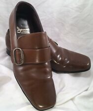 Vtg Jarman Custom Collection Brown Monk Strap Squared Toe Loafers Size 9 Groovy